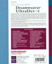 Developpement Macromedia ; Dreamweaver Ultradev - 4ème de couverture - Format classique