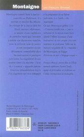 Montaigne ; le magistrat sans juridiction - 4ème de couverture - Format classique