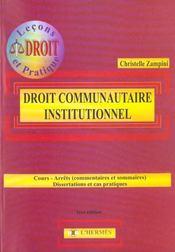 Le Droit Communautaire Institutionnel - Intérieur - Format classique