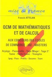 Qcm de mathématiques et de calcul aux concours des écoles de commerce, iae, masters - Intérieur - Format classique