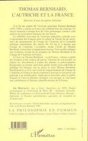 Thomas Bernhard ; L'Autriche Et La France ; Histoire D'Une Reception Litteraire - 4ème de couverture - Format classique
