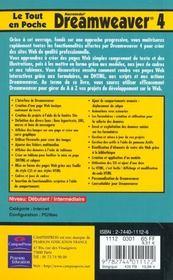 Le Tout En Poche Dreamweaver 4 - 4ème de couverture - Format classique