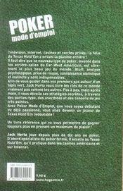 Poker mode d'emploi - 4ème de couverture - Format classique