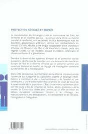 Protection Sociale Et Emploi Regards Croises Sur La Mondialisation En Europe Et - 4ème de couverture - Format classique