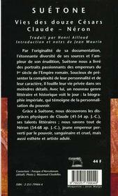 Vies Des Douze Cesars (Cp5) - 4ème de couverture - Format classique