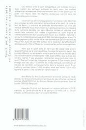 Sport Politiques Et Societes En Europe Centrale Et Orientale - 4ème de couverture - Format classique