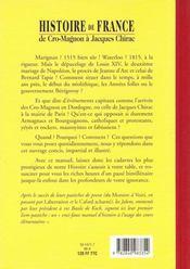 Histoire De France De Cro-Magnon A Jacques Chirac - 4ème de couverture - Format classique