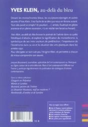 Yves Klein, au-delà du bleu - 4ème de couverture - Format classique