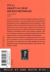 Enquete Au Coeur Des Multinationales - 4ème de couverture - Format classique