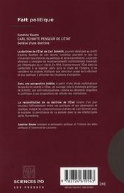 Carl Schmitt, penseur de l'état ; genèse d'une doctrine - 4ème de couverture - Format classique