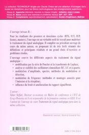 Genie Electrique Exercices Et Problemes Resolus De Traitement Du Signal Analogique - 4ème de couverture - Format classique