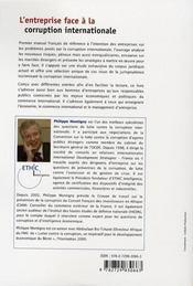 L'entreprise face à la corruption internationale ; droits, risques, stratégies, enjeux - 4ème de couverture - Format classique