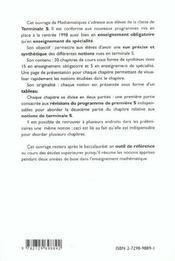 Resumaths Tout Le Programme De Terminale S En Tableaux Et Les Indispensables De Premiere S - 4ème de couverture - Format classique