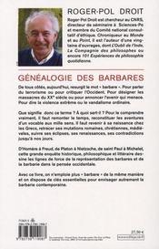 La généalogie des barbares - 4ème de couverture - Format classique