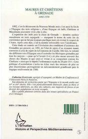 Maures Et Chretiens A Grenade, 1492-1570 - 4ème de couverture - Format classique