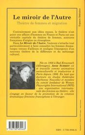 Le Miroir De L'Autre ; Theatre De Femmes Et Migration - 4ème de couverture - Format classique