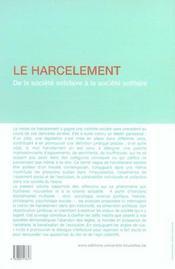 Le Harcelement De La Societe Solidaire A La Societe Solitaire. Harcelements, C - 4ème de couverture - Format classique