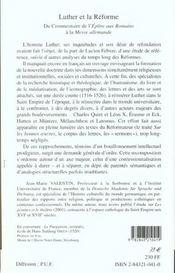 Luther et la reforme ; de commentaire de l'epitre aux romains a la messe allemande - 4ème de couverture - Format classique