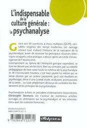 La Psychanalyse ; L'Indispensable De La Culture Generale - 4ème de couverture - Format classique
