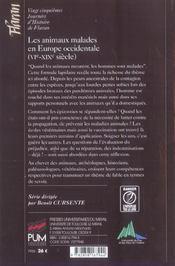 Animaux Malades En Europe Occidentale (Vie-Xixe S) - 4ème de couverture - Format classique