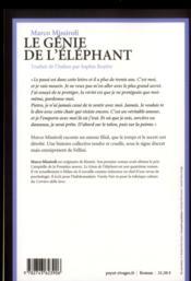 Le génie de l'éléphant - 4ème de couverture - Format classique