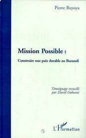 Mission Possible: Construire Une Paix Durable Au Burundi - 4ème de couverture - Format classique