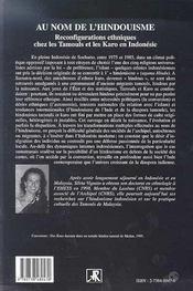 Au Nom De L'Hindouisme ; Reconfigurations Ethniques Chez Les Tamouls Et Les Karo En Indonesie - 4ème de couverture - Format classique