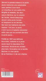 Isabelle Et La Porte Jaune - 4ème de couverture - Format classique