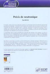 Precis De Neutronique - 4ème de couverture - Format classique