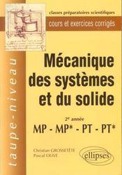 Mecanique Des Systemes Et Du Solide 2e Annee Mp/Mp*/Pt/Pt* Cours Et Exercices Corriges - Intérieur - Format classique
