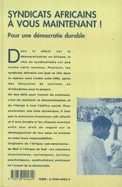 Syndicats Africains, A Vous Maintenant ! Pour Une Democratie Durable - 4ème de couverture - Format classique
