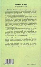 Annees De Feu ; Algerie, 1954-1956 - 4ème de couverture - Format classique