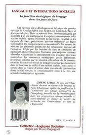 Langage Et Interactions Sociales ; La Fonction Strategique Du Langage Dans Les Jeux De Face - 4ème de couverture - Format classique
