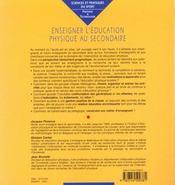 Enseigner L'Education Physique Au Secondaire - 4ème de couverture - Format classique