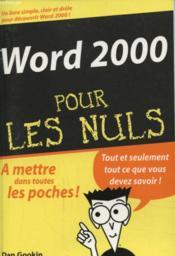 Word 2000 Pour Les Nuls - Couverture - Format classique