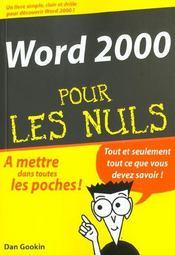 Word 2000 Pour Les Nuls - Intérieur - Format classique