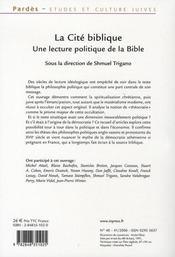 La cite biblique ; une lecture politique de la bible - 4ème de couverture - Format classique