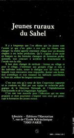 Jeunes Ruraux Du Sahel Une Experience De Formation - 4ème de couverture - Format classique