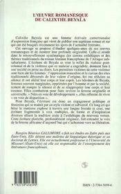 L'Oeuvre Romanesque De Calixthe Beyala - 4ème de couverture - Format classique