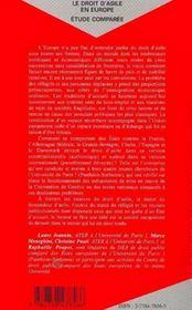 Le Droit D'Asile En Europe ; Etude Comparee - 4ème de couverture - Format classique