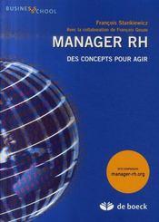 Manager Rh Des Concepts Pour Agir - Intérieur - Format classique