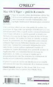 Mac Os X Tiger Precis Et Concis 4e Edition - 4ème de couverture - Format classique