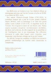 Reflexions Sur Lekain Et Sur L'Art Theatral - 4ème de couverture - Format classique