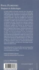 Stupeur et dialectique - 4ème de couverture - Format classique