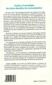 Analyse Economique Des Biens Durable De Consommation - 4ème de couverture - Format classique