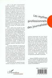 Les Mythes Professionnels Des Journalistes - 4ème de couverture - Format classique