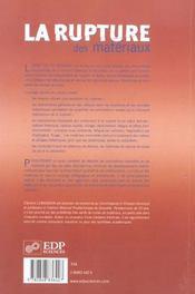 La rupture des matériaux - 4ème de couverture - Format classique