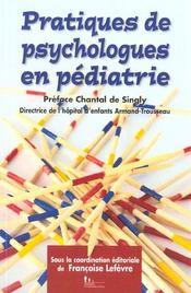 Pratiques De Psychologie.Pediatrie - Intérieur - Format classique