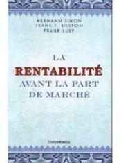 La Rentabilite Avant La Part De Marche - Couverture - Format classique