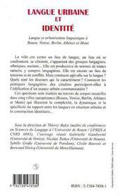 Langue urbaine et identité ; langue et urbanisation linguistique à Rouen, Venise, Berlin, Athènes... - 4ème de couverture - Format classique